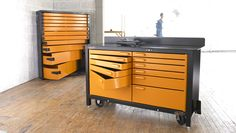 Wow, heavy duty steel storage workbench. Workbench For Sale, Steel Workbench, Truck Tools, Truck Tool Box, Tool Storage, Storage Ideas, Cool Vans, Buy Tools, Kitchen Cart