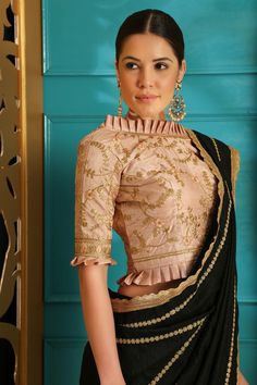Buy Black color silk designer party wear saree in UK, USA and Canada