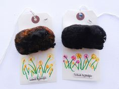 guinea pig brooches by feltedfido