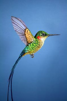 Paper and Wood Long Tailed Hummingbird Sculpture