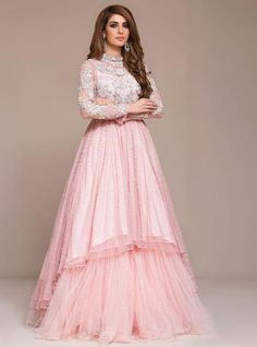 Buy latest indo western gowns and dresses online only on Panache Haute Couture. Find a large variety of party wear and bridal gowns at discounted rates. Pink Wedding Gowns, Indian Wedding Gowns, Pink Gowns, Bridal Gowns, Wedding Lehenga Online, Wedding Frocks, Punjabi Wedding, Indian Fashion Dresses, Indian Gowns Dresses