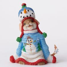 CHARMING TAILS Mouse Figurine SNOWMAN SWEATER CHRISTMAS OUTFIT HAT.