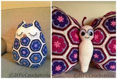 Crochet Patterns - Maggie the African Flower Owl Pillow and Tess the African Flower Butterfly Pillow