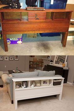An old headboard turned into a sofa table Diy Furniture Projects, Refurbished Furniture, Repurposed Furniture, Furniture Making, Furniture Makeover, Home Projects, Painted Furniture, Furniture Storage, Bedroom Furniture