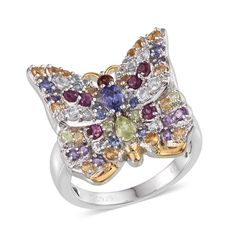 SUGAR by Gay Isber Multi Gemstone 14K YG and Platinum Plated Sterling Silver Ring (Size 6.0) TGW 2.986 cts.