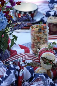 4th of July Picnic: Roast beef sammies and patriotic pasta salad