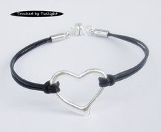Silver Open Heart Leather Bracelet - Magnetic - Black Leather by Touched by Twilight ($10)