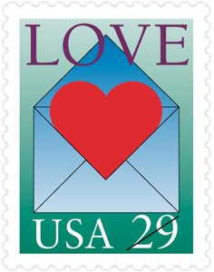 These were the stamps that went on my wedding invitations in 1993!  1992 Love Stamp - Heart Envelope