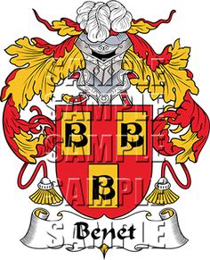 Benet Family Crest apparel, Benet Coat of Arms gifts