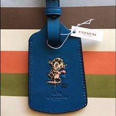 NWT Coach Baseman Luggage tag rare! Super cute peacock blue luggage tag from the limited edition Gary Baseman line from the Coach retail stores. Coach Accessories Key & Card Holders