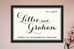 """""""Symphony"""" - Bold typographic, Classical Save The Date Postcards in Blush by Sydney Newsom."""