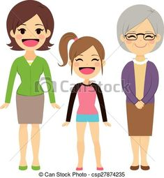 Vector - Three Generation Women - stock illustration, royalty free illustrations, stock clip art icon, stock clipart icons, logo, line art, EPS picture, pictures, graphic, graphics, drawing, drawings, vector image, artwork, EPS vector art