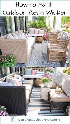 Yes! You can spray paint outdoor resin wicker furniture a brand new color. Follow these 3 easy steps, so you paint plastic outdoor furniture the right way! | Porch Daydreamer Painted Outdoor Furniture, Painting Wicker Furniture, Resin Furniture, Outdoor Furniture Design, Painted Wicker, Wicker Patio Furniture, Farmhouse Furniture, Colorful Furniture, Furniture Ideas