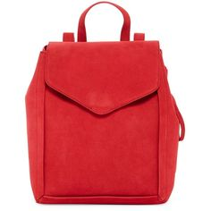 LOEFFLER RANDALL Charming Suede and Leather Backpack ($200) ❤ liked on Polyvore featuring bags, backpacks, red, red backpack, leather zipper backpack, leather daypack, day pack backpack and leather knapsack