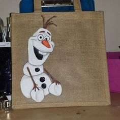 My hand painted disney character jute/tote/canvas bags. Rapunzel Elsa Anna Olaf Cinderell Ariel Snow white Frozen etc... Little bag girl (on ebay etsy and facebook) #painteddisneybag #disneyjutebag #olaf #handmade #frozen #Disney #personalisedjutebag #insummer