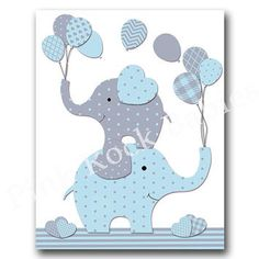 Blue elephant nursery wall art, baby boy nursery decoration, .