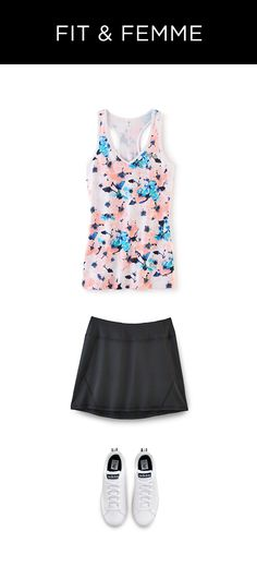 Gear up for your cutest workout yet! We know that's not the point, but feeling good while you're getting fit never hurt. Find this floral tank, fitness skirt and shoes at Kohl's.
