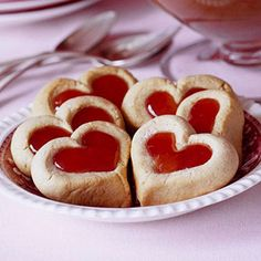 Double Thumbprint Cookies  Fill these pretty Double Thumbprint Cookies with cherry or raspberry preserves for a Valentine dessert