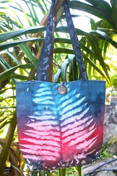 Handprinted Nature Embossed Canvas Tote Bag by RootsSeychelles