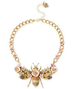 Betsey Johnson Gold-Tone Queen Bee Frontal Necklace - Jewelry & Watches - Macy's