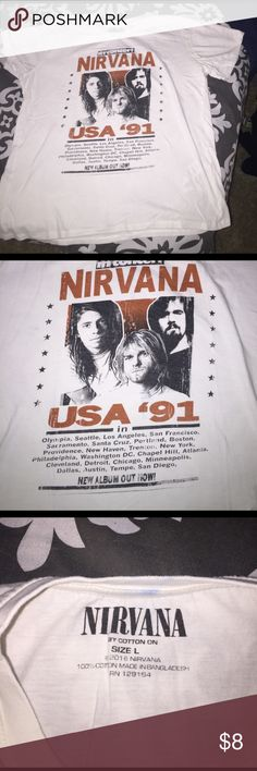 Nirvana band tee off white/ shrunk a little ➕bundle 2️⃣or more % off ✳️FREENECKLACE W/BUNDLE PURCHASE✳️  LIKE THE ITEM JUST DON'T LIKE THE PRICE  MAKE AN OFFER   NO TRADE  Purchases before 12am PST Sunday-Thursday will be shipped out next day  Cotton On Tops Tees - Short Sleeve