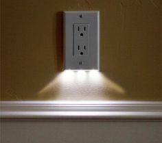 these night light outlet covers use $0.05 of electricity per year and require no additional wiring. would be great for hallways. I NEED TO FIND THESE!!