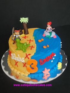 Pirates and Mermaids!  A perfect cake for twins!