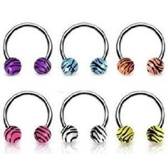"""6 piece lot White, pink, purple, blue, yellow, orange Zebra animal print tiger horseshoe lip Tragus belly nipple ring Surgical Steel 16 gauge, 5/16"""" (8mm) 16g, (belly ring, body jewelry, body candy, assortment, belly button rings, belly rings, lip rings, navel ring, piercing jewelry, tongue rings)"""