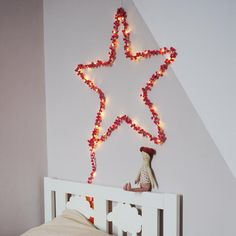 Sprinkle a touch of magic with this twinkling fairy light star.    Perfect to bring comfort at bedtime, the contemporary star looks great in a child's room #childrendesigns #star #decoratingideas #kidsroom Star Decorations, Diy Wedding Decorations, Starry String Lights, Light String, Handmade Lampshades, Star Night Light, Polaroid Wall, Led Fairy Lights, Tv Decor