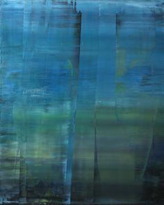 "Koen Lybaert; Oil 2014 Painting ""abstract N° 795 [Ullswater - The lake district] - SOLD [UK]"""