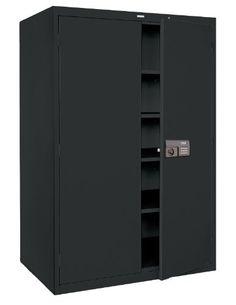 Sandusky Lee KDE7824 09 Black Steel Powder Coat SnapIt Storage Cabinet with Keyless Electronic Coded Lock, 78 Height x 36 Width x 24 Depth, 5 Shelves