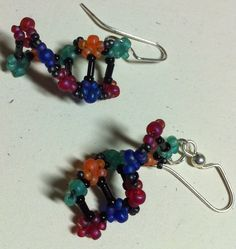 For all you science geeks out there. So funny. Just looks fun to make too. Consultant Business, Helix Earrings, Colour List, Look At You, Perfect Man, Needle And Thread, Green And Orange, Geeks, Dna