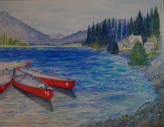 Emerald lake Canada - aquarel Emerald Lake, Canada, Watercolor, Painting, Art, Pen And Wash, Art Background, Watercolor Painting, Painting Art