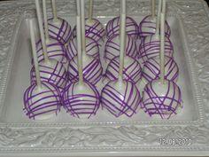 purple & white cake pops