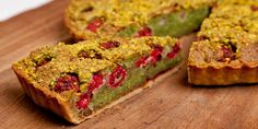 James Mackenzie serves up a pistachio Bakewell tart recipe, dotted with zingy fresh raspberries.