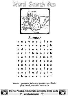 Summer Fun Worksheets for Kids Printable