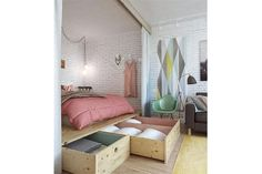 Best modern small apartment interior design and decoration ideas: Beautiful Bedroom Arrangement For 45 Square Meters Apartment Creative Bed Design Simple Space Saving Bed Design For Small Studio Apartment Furniture Organizing Ideas Studio Apartment Decorating, Apartment Ideas, Studio Apartment Storage, White Studio Apartment, Studio Apartment Design, Cute Apartment, Apartment Makeover, Dream Apartment, Compact Living