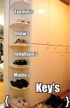 I'm curious of why Minho's shoes are on the bottom when he's the tallest one there