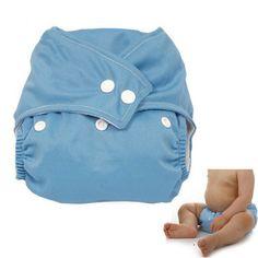 SODIAL(R) Panales de Tela con Boton Ajustable Lavable para Bebe - Azul
