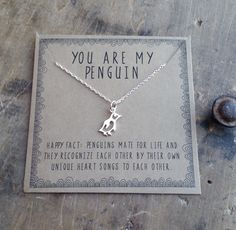 You are my penguin necklace . Gift for girlfriend . gift for wife . Birthday for Her . Penguin Love and Friendship Tu es mon collier de pingouin. Collier en couches d& Anniversary Jewelry, Anniversary Gifts, Wedding Anniversary, Armband Rose, Penguin Necklace, Valentine Day Gifts, Valentines, Necklace For Girlfriend, Girlfriend Gift