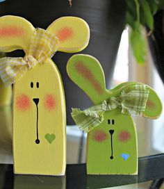Colorful Wooden Blue Yellow and Green Bunny Trio by lauraswoodshed