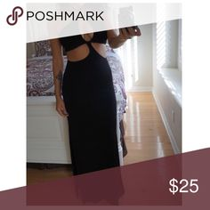 Beautiful black dress Not from listed brand. *Nasty Gal* Second picture is the actual picture. You can do the top strings straight like the first picture or crossed like the second picture. The cuts are on the side not the middle. Zara Dresses