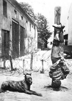 Las palizas como castigo y después sí aún vivían,se añadía alguna tortura más como la que aparece en la foto.