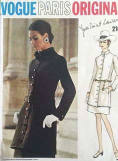1960s MOD YSL Tunic Suit Pattern VOGUE PARIS Original 2107 Yves Saint Laurent 2 Pc Dress Tunic Jacket and Slim Underskirt Bust 31.5 Vintage Sewing Pattern