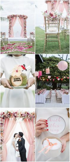 This Thailand destination wedding is an ombre blush + peach celebration filled with romantic outdoor beach wedding ideas you need to see! http://www.confettidaydreams.com/cape-panwa-wedding-phuket/