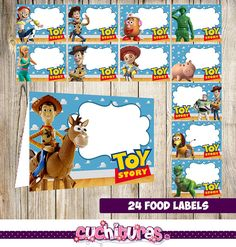 24 Toy Story Food Tent Cards instant download Printable Toy