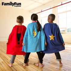 Make a Cape: These easily customized capes require no sewing and are made with a velcro closure for safety.