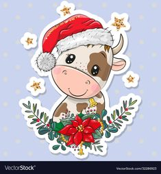 Cow Illustration, Christmas Illustration, Christmas Arts And Crafts, Christmas Bows, Cow Ornaments, Cute Christmas Wallpaper, Cow Pattern, Decoupage, Digi Stamps