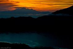 The sun rise over Gunung Rinjani on the island of Lombok in Indonesia...