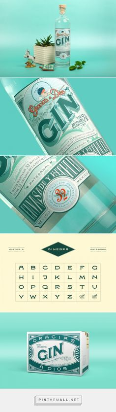Gracias a Dios Gin on Behance by Abraham Lule, Queretaro, Mexico, curated by Packaging Diva PD. Label design for the first Mexican Gin distilled from Agave infused with 32 mexican botanicals inspired by collector ephemera.